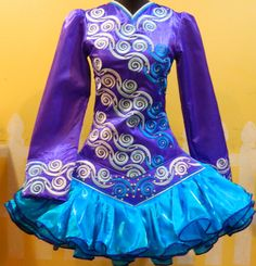 Blues n purple Irish dance dress, beautiful - dress belongs to one of my friends