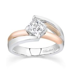 Princess Cut Solitaire engagement  Ring - 7087LTW - Step away from tradition and find the world of unique and captivating with this two-tone rose and white gold solitaire ring.  A princess cut center diamond is prong set on point for a modern twist.  The split shank rises on the outsides to meet the center diamond at the top, while the center rose gold bridge appears to disappear under the center.    Also available in two-tone yellow/white gold, all white gold, 18k and Platinum.