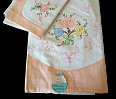 Vintage Applique Sheet and Pillowcase Set Hand by TreasureCoveAlly