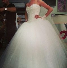 2019 Luxury O-neck Long Sleeve Ball Gown Wedding Dresses Bridal Dresses Beaded Crystals Vestidos De Noiva Wedding Gowns Robe De Mariage Cinderella wedding dress. Princess Ball Gowns, Princess Wedding Dresses, Dream Wedding Dresses, Wedding Gowns, Crystal Wedding, Tulle Wedding, Cinderella Dresses, Wedding Events, Poofy Wedding Dress