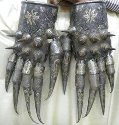 bear paw armor (cuprum arm guard). indo persian islamic empire dynasty.