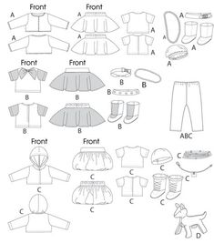 Free Printable Doll Clothes Patterns Clothes For Doll, Accessories and Dog New Sewing Patterns . Sewing Doll Clothes, Dog Clothes Patterns, Doll Sewing Patterns, Sewing Dolls, Girl Doll Clothes, Barbie Clothes, Girl Dolls, Pattern Sewing, Ag Dolls