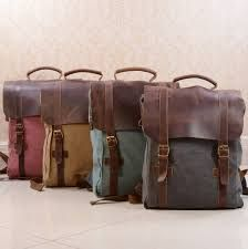 Canvas And Leather Foldover Backpack - bags & purses Leather Laptop Backpack, Rucksack Backpack, Leather Backpacks, Canvas Backpacks, Laptop Bags, Vintage Leather Backpack, Travel Backpack, Bag Women, Travel Bags For Women