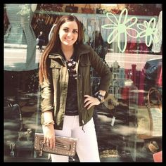 It finally feels like fall and we couldn't be happier! Grace is wearing a light jacket ($78), marbled t-shirt with leather detailing ($40), leather wrap bracelet ($30), and metallic clutch (48).