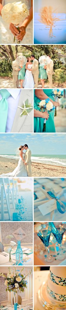 Beach wedding in Florida with shades of blue and cream