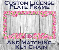 monogrammed car tag frame floral jewels personalized license plate frame lilly pulitzer inspired car pinterest monograms jewel and floral - Monogram License Plate Frame