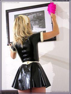 Kitchen Maid, House Maid, Maid Uniform, French Maid, Plastic Pants, Latex Fashion, Rain Wear, Skater Skirt, Sissy Maids