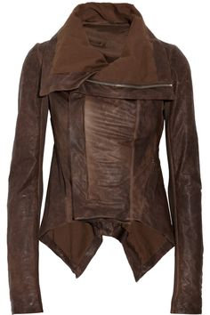 Rick Owens Paneled leather jacket - 60% Off Now at THE OUTNET