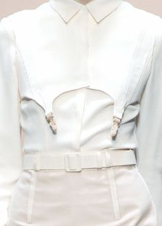 White shirt reinvented with a lingerie twist; fashion details // Richard Nicoll Fall 2009