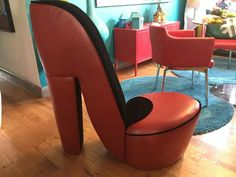 High heel chair from The Crochet Crowd