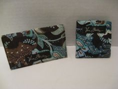 Vera Bradley Java Blue Snap Close Mirror + Business Card Holder Brown Retired #VeraBradley