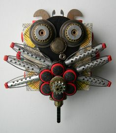"""Juju Bug""-Recycled art collage    www.etsy.com/shop/redhardwick"