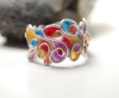 Sedona Sunset Ring Sterling Silver Colorful by TaylorsEclectic, $55.00