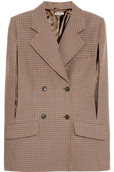 Miu Miu | Houndstooth wool-blend cape