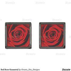 Red Rose Gunmetal Gunmetal Finish Cuff Links