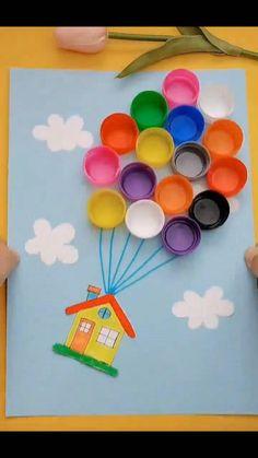 Toddler Paper Crafts, Flower Crafts Kids, Hand Crafts For Kids, Cute Kids Crafts, Craft Activities For Kids, Art For Kids, Toddler Arts And Crafts, Diy Crafts Hacks, Home Crafts
