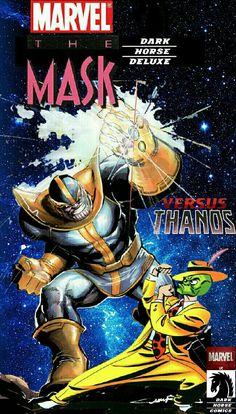 Dark Hourse/Marvel Comic Book: The Mask vs Thanos Marvel Dc, Thanos Marvel, Marvel Comic Books, Comic Book Heroes, Comic Superheroes, Crossover, O Maskara, Dark Mask, Masks Art