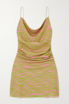 Maisie Wilen Bead-embellished Ruched Printed Stretch-jersey Mini Dress In Pink Pink Mini Dresses, Cute Dresses, Cheap Dresses, Ball Dresses, Summer Dresses, Dress Outfits, Cute Outfits, Fashion Outfits, Estilo Hippy