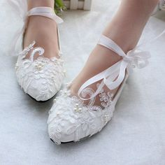 White-lace-stain-strap-Wedding-shoes-pearl-Bridal-flats-low-high-heels-size-6-10