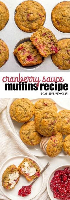 Cranberry Sauce Muffins are a beautiful and fun way to use extra cranberry sauce! Top with a smear of butter and enjoy for a delicious, festive holiday breakfast! via @realhousemoms