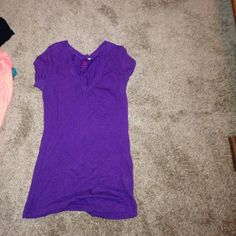 Vneck top Purple check top fitted Tops Tees - Short Sleeve