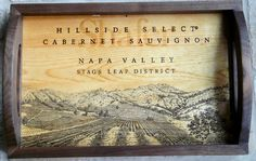 Hillside Select wine crate lid. Finished Mahogony frame. Bed and breakfast tray.