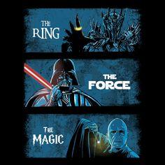 """Dark Lords"" by Ddjvigo is $10 today at ShirtPunch.com (02/22). #tshirt #LordOfTheRings #StarWars #HarryPotter"