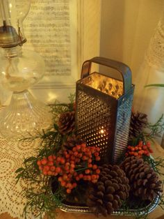 "Rustic Christmas table decor, vintage cheese grater with candle, berries, cedar and pinecones- ""Shabby Chic Christmas"""