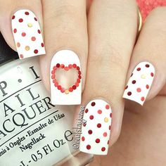 Red and White Polka Dot Nails for Valentine's Day