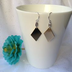 GOLD EARRINGS - Gold Rhombus Tag Earrings - Gold Diamond Shape Earrings - Gold Tag Earrings by JazziGems on Etsy