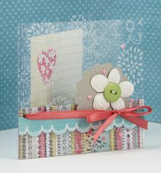 handmade card:  acrylic outside by shari carroll ... luv the lacey look of the flowers stamped in white on the clear acrylic ...