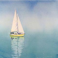 Sail Boat Art - Watercolor Painting Print - Fathers Day - Sailboat Painting, Boat Watercolors - Men Women - Switzerland - Blue - x Sailboat Art, Sailboat Painting, Watercolor Landscape, Watercolor Paintings, Watercolour, Simple Watercolor, Contemporary Abstract Art, Am Meer, Bike Art