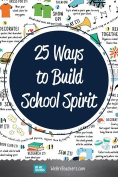 25 ways to build school spirit. Print this poster and place it around the school wherever students gather to help them build school spirit! Leadership Classes, Student Leadership, Leadership Activities, Group Activities, Student Council Activities, Middle School Activities, Student Council Ideas, Student Volunteer, Student Gov