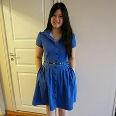 My Blu dress, made from Mccalls pattern! Sewing Projects For Beginners, Shirtdress, Samba, Sewing Clothes, Sewing Ideas, Summer Dresses, Party, Pattern, Shirts