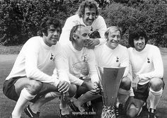 Sport. Football. pic: 5th August 1972. Tottenham Hotspur's left-right, Mike England, Alan Gilzean, Ralph Coates, Joe Kinnear and behind Martin Chivers pose with the UEFA Cup