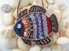 Tropical Fish Necklace or Pin Pattern, Beaded Embroidery Tutorial in PDF. $8,00, via Etsy.