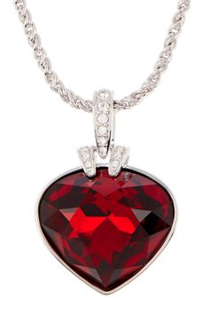 Oceanic Red Heart Crystal Pendant Necklace