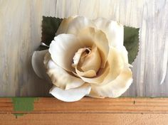 Ivory Silk Flower Hair Piece by nickelbugdesigns on Etsy, $5.75