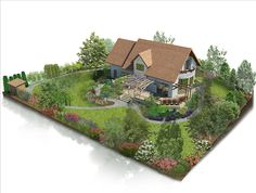 Love Your Lawn: Landscaping Ideas And Inspiration - House Garden Landscape Landscape Design Plans, Garden Design Plans, Landscape Architecture, Spanish Landscaping, Backyard Landscaping, Farm Layout, Village House Design, Cottage Garden Design, Garden Planning