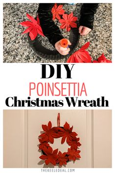 This Paper Plate Christmas Wreath Kids Craft is so cute! It's easy to make this fun Christmas decoration using a paper plate and dollar store flowers. Poinsettia Wreath, Christmas Poinsettia, Christmas Fun, Christmas Wreaths, Holiday Crafts, Fun Crafts, Crafts For Kids, Paper Plate Crafts, Paper Plates