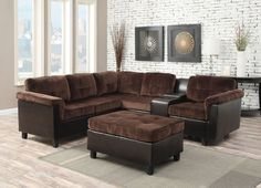 """2 pc Cleavon collection 2 tone chocolate champion and espresso faux leather upholstered reversible sectional sofa.  This set features a 2 tone fabric upholstery with center console and reversible layout design.  Measures 99"""" x 86"""" x 32"""" D x 34"""" H.  Optional ottoman also available separately at additional cost.  Some assembly required."""