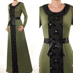 2609 Green Jersey Lace Belted Ladies Muslim Abaya by MissMode21, $33.00