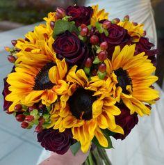 """Ring of Fire"" Sunflowers, Hypericum Berries & Black Bacara Roses Bouquet   50ShadesOfJaey"