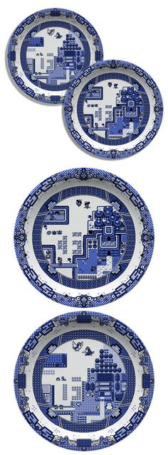 Olly Moss blue willow video game plates #ceramics