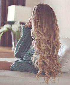 Melted ombre blonde brown hair curls
