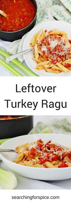 This leftover turkey ragu is a great recipe to make with the leftovers of a roast turkey. It's easy to make, healthy and can even be frozen for more easy meals #turkey #leftoverRecipes #ragu #cookonceeattwice #batchcooking