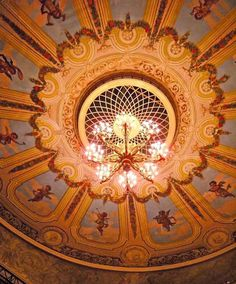 The dome of the Svenska Teatern auditorium in Helsinki. I believe this part of the theatre dates from Nikolay Benois' reconstruction in 1866.  http://tmblr.co/ZleT7xDa2IMw
