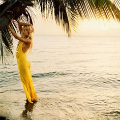 Shall always be somewhat smitten with yellow dresses in summer. Beach and palm trees are also encouraged.