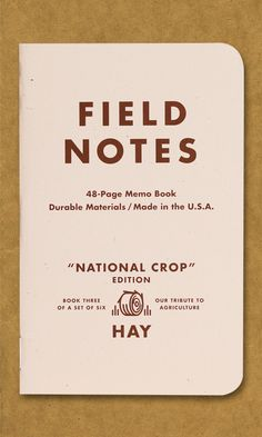 """Co-founder Aaron Draplin talks about Field Notes' ancestry in this film, From Seed, and we present an ever-growing collection of our """"family tree. Crop Field, Note Memo, Pocket Books, Field Notes, Vintage School, Field Guide, Graphic Design Illustration, Graphic Design Inspiration, Inspire Me"""