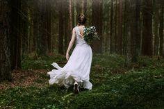 Wool and silk rustic wedding dress
